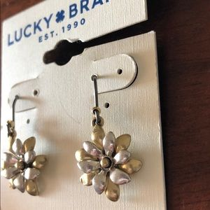 Lucky Brand silver and gold drop flower earrings
